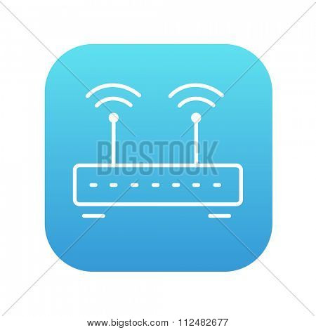 Wireless router line icon for web, mobile and infographics. Vector white icon on the blue gradient square with rounded corners isolated on white background.