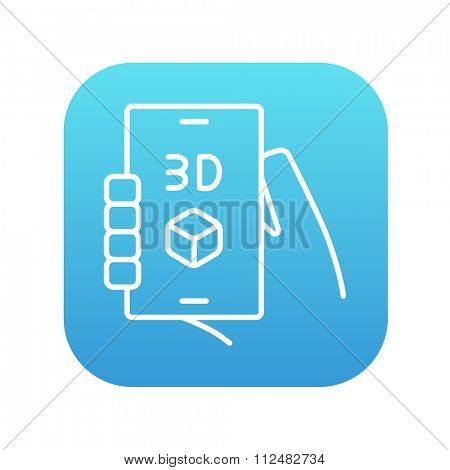 Smartphone with three D box line icon for web, mobile and infographics. Vector white icon on the blue gradient square with rounded corners isolated on white background.