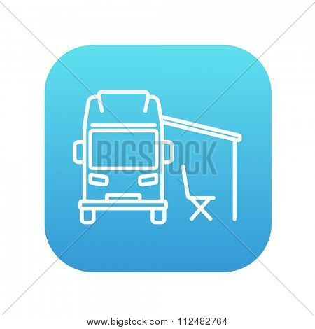 Motorhome with tent line icon for web, mobile and infographics. Vector white icon on the blue gradient square with rounded corners isolated on white background.