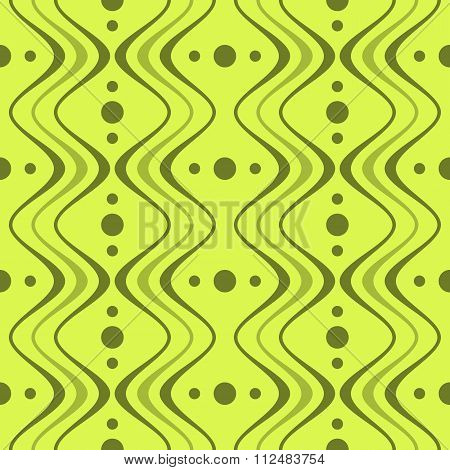 Abstract Elegant Seamless Pattern Of Vertical Wavy Bands And Circles
