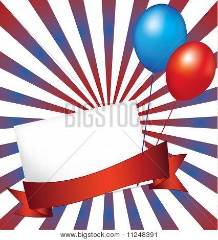 Sunburst Background With Festive Balloons