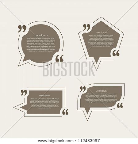 Quote mark speech bubbles set.