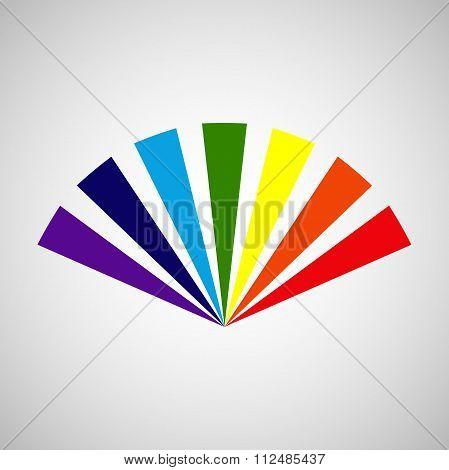 Rainbow stylized fan