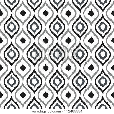 Seamless background image of hand drawn grey tone round curve kaleidoscope pattern.