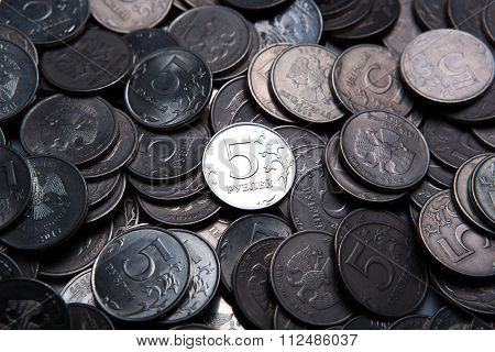 Bunch Of Russian Rubles In The Form Of Coins