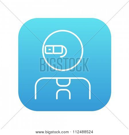 Man in augmented reality glasses line icon for web, mobile and infographics. Vector white icon on the blue gradient square with rounded corners isolated on white background.