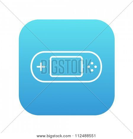 Game console gadget line icon for web, mobile and infographics. Vector white icon on the blue gradient square with rounded corners isolated on white background.