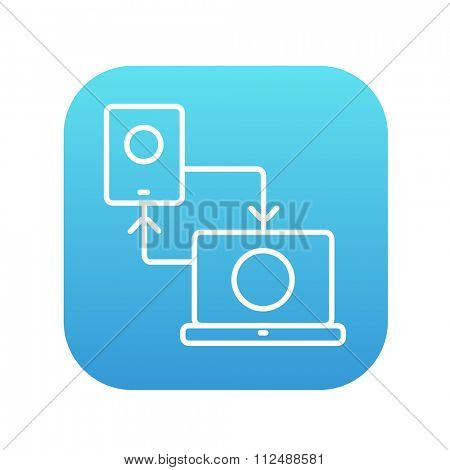 Synchronization smartphone with laptop line icon for web, mobile and infographics. Vector white icon on the blue gradient square with rounded corners isolated on white background.