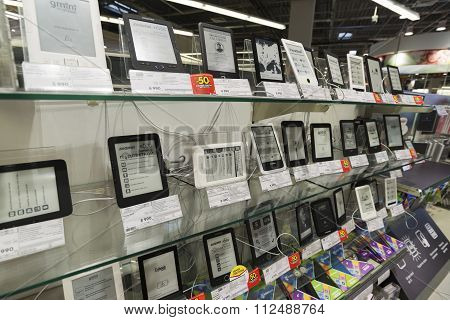 Khimki, Russia - December 22 2015. E-books in Mvideo large chain stores selling electronics and hous
