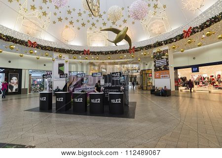 Khimki, Russia - December 22, 2015. Mobile operator Tele2 in large shopping centers Mega