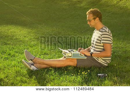 Journalist on the meadow