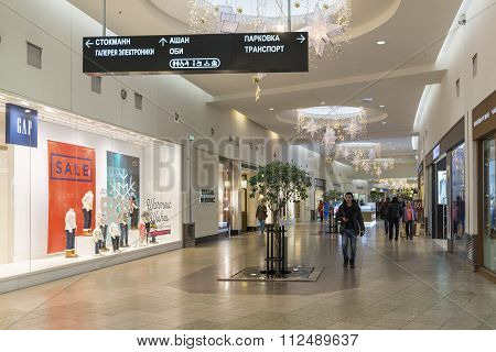 Khimki, Russia - December 22, 2015. The interior of  large shopping mall Mega