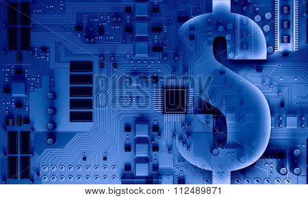 Background image with system motherboard concept and dollar sign