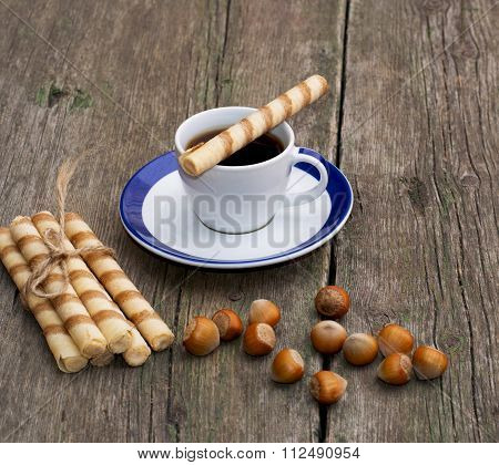 Coffee, Baking In The Form Of Tubules And Nutlets, On A Wooden Table