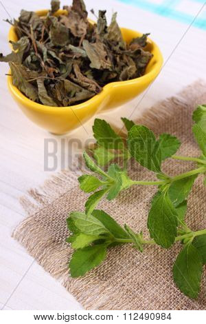 Fresh And Dried Lemon Balm In Bowl On Wooden Table, Herbalism