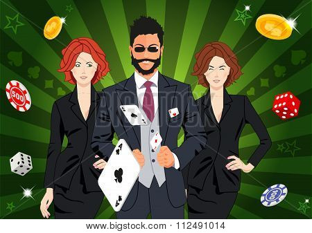 Confident Lucky Man Throws Aces