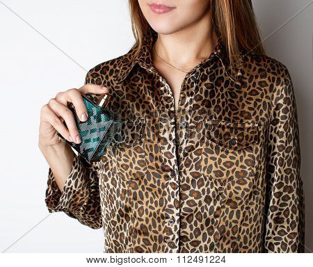 Girl With Perfume, Young Beautiful Woman Holding Bottle Of Perfume