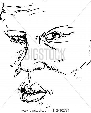 Outline Of Serious Face