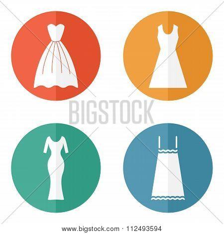Woman dress icons