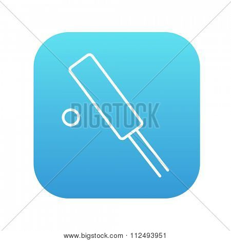 Cricket line icon for web, mobile and infographics. Vector white icon on the blue gradient square with rounded corners isolated on white background.
