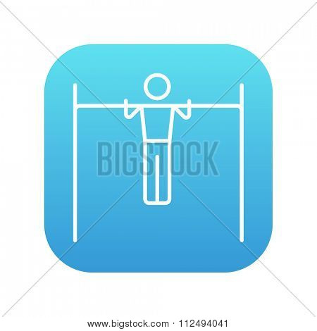Gymnast exercising on the bar line icon for web, mobile and infographics. Vector white icon on the blue gradient square with rounded corners isolated on white background.