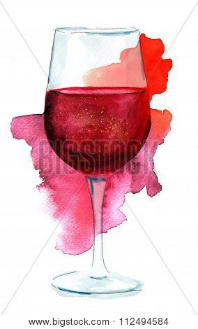 Wine Collage With Watercolor Drawing Of Glass Of Red Wine