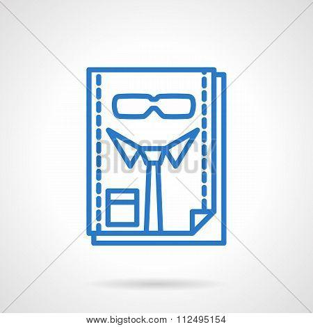 HR management blue line vector icon