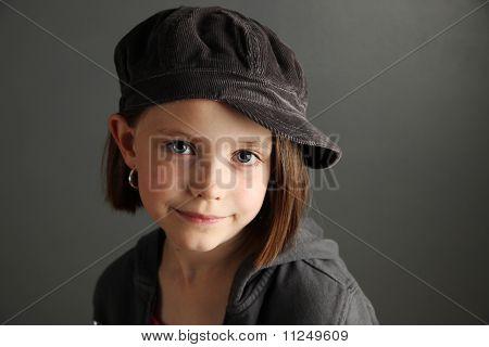 Girl Wearing Newsboy Cap