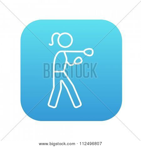 Female boxer line icon for web, mobile and infographics. Vector white icon on the blue gradient square with rounded corners isolated on white background.