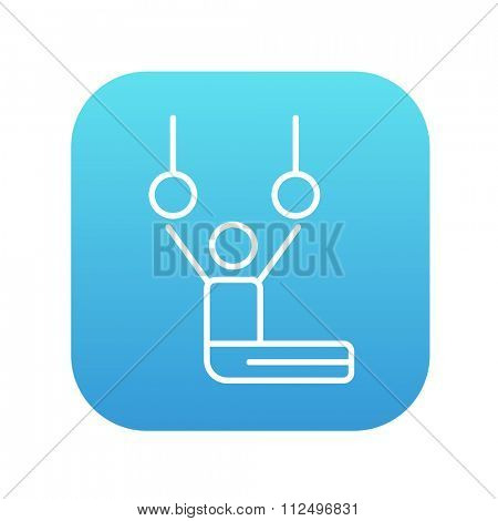 Gymnast performing on stationary rings line icon for web, mobile and infographics. Vector white icon on the blue gradient square with rounded corners isolated on white background.