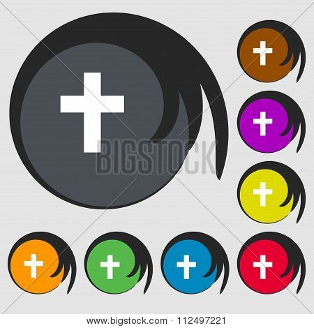 Religious Cross, Christian Icon. Symbols On Eight Colored Buttons.