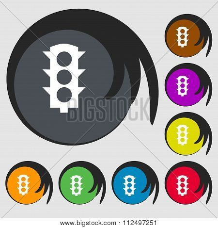 Traffic Light Signal Icon. Symbols On Eight Colored Buttons.