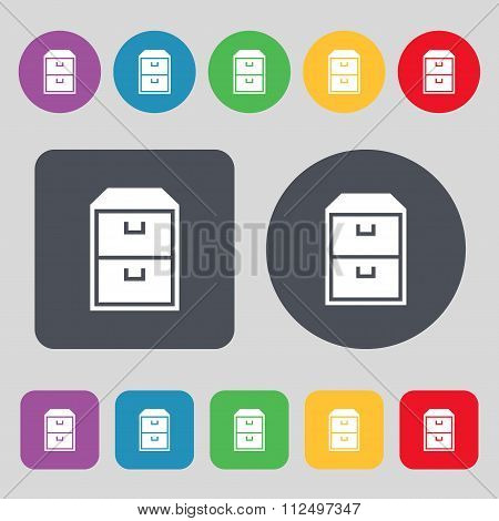 Nightstand Icon Sign. A Set Of 12 Colored Buttons. Flat Design.