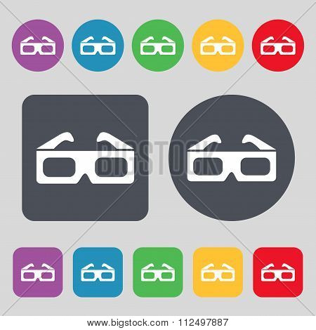 3D Glasses Icon Sign. A Set Of 12 Colored Buttons. Flat Design.