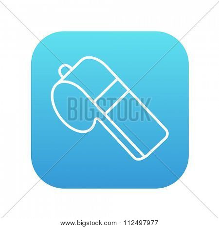 Whistle line icon for web, mobile and infographics. Vector white icon on the blue gradient square with rounded corners isolated on white background.