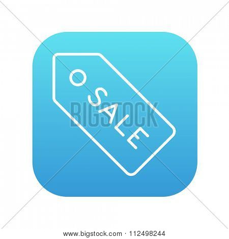 Sale tag line icon for web, mobile and infographics. Vector white icon on the blue gradient square with rounded corners isolated on white background.
