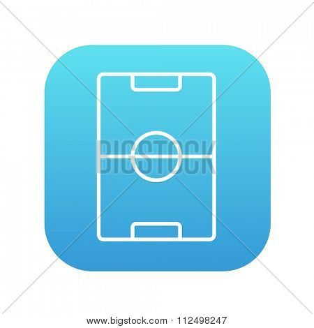 Stadium layout line icon for web, mobile and infographics. Vector white icon on the blue gradient square with rounded corners isolated on white background.