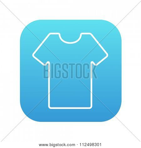 T-shirt line icon for web, mobile and infographics. Vector white icon on the blue gradient square with rounded corners isolated on white background.