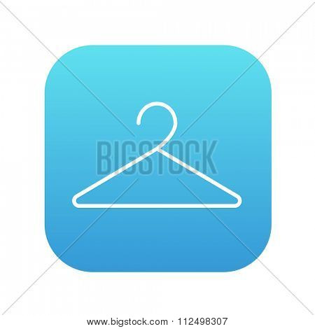 Hanger line icon for web, mobile and infographics. Vector white icon on the blue gradient square with rounded corners isolated on white background.