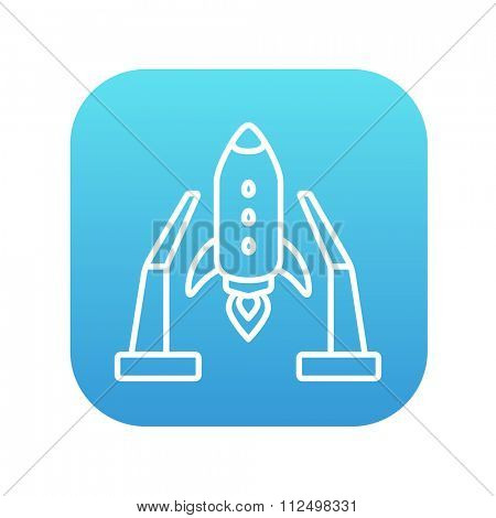 Space shuttle on a take-off area line icon for web, mobile and infographics. Vector white icon on the blue gradient square with rounded corners isolated on white background.
