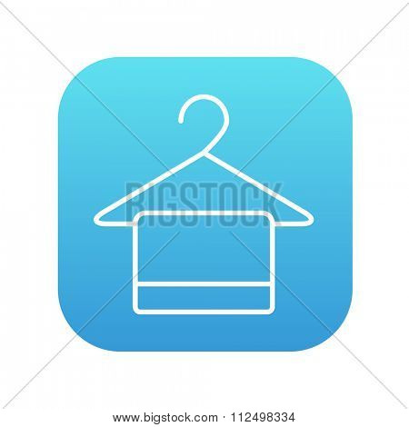 Towel on hanger line icon for web, mobile and infographics. Vector white icon on the blue gradient square with rounded corners isolated on white background.