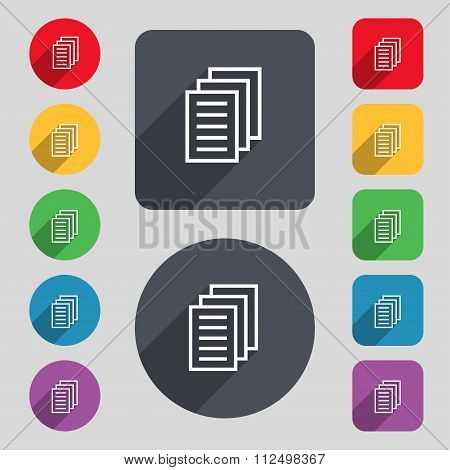 Copy File, Duplicate Document Icon Sign. A Set Of 12 Colored Buttons And A Long Shadow.