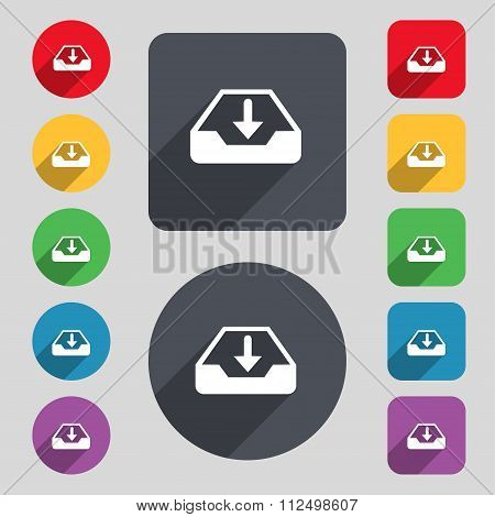 Restore Icon Sign. A Set Of 12 Colored Buttons And A Long Shadow. Flat Design.
