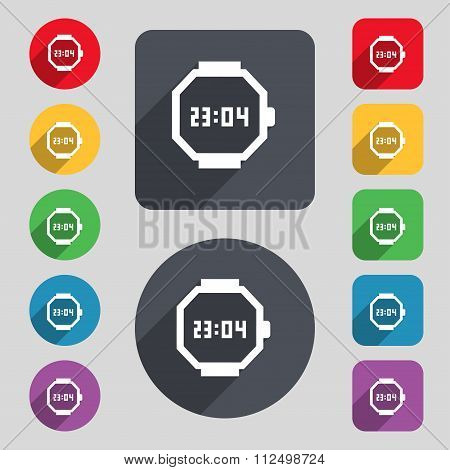 Wristwatch Icon Sign. A Set Of 12 Colored Buttons And A Long Shadow. Flat Design.
