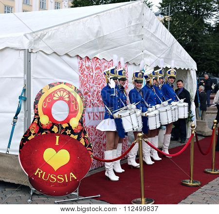 The Team Of Russian Women Drummers On The Market Square At The Celebration Of The Day Of Russia