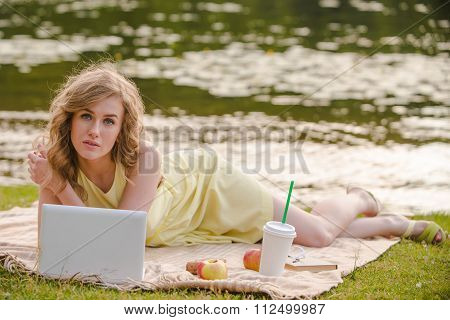 Romantic girl with laptop