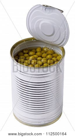 Green Peas In The Opened Steel Can Are Isolated