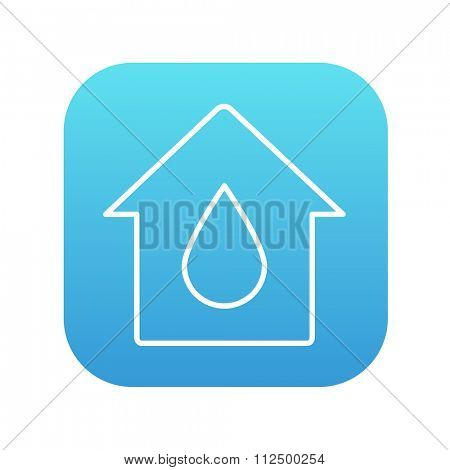 House with water drop line icon for web, mobile and infographics. Vector white icon on the blue gradient square with rounded corners isolated on white background.