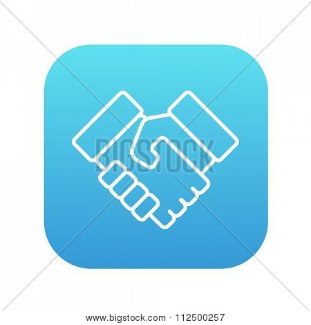 Handshake and successful real estate transaction line icon for web, mobile and infographics. Vector white icon on the blue gradient square with rounded corners isolated on white background.