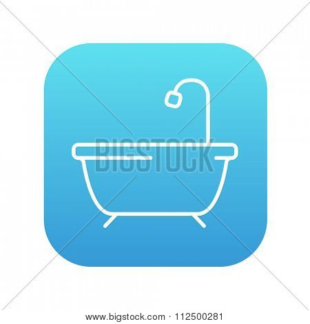 Bathtub with shower line icon for web, mobile and infographics. Vector white icon on the blue gradient square with rounded corners isolated on white background.